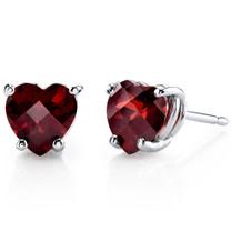 14 kt White Gold Heart Shape 1.75 ct Garnet Earrings E18524