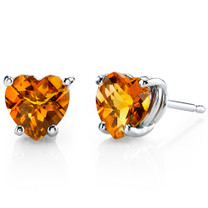 14 kt White Gold Heart Shape 1.50 ct Citrine Earrings E18526