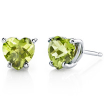 14 kt White Gold Heart Shape 1.75 ct Peridot Earrings E18530