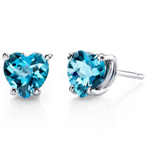 14 kt White Gold Heart Shape 1.75 ct Swiss Blue Topaz Earrings E18532