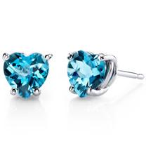 14 kt White Gold Heart Shape 1.75 ct Swiss Blue Topaz Earrings E18532