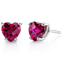 14 kt White Gold Heart Shape 2.00 ct Ruby Earrings E18536