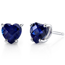 14 kt White Gold Heart Shape 2.50 ct Blue Sapphire Earrings E18538