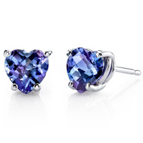 14 kt White Gold Heart Shape 2.50 ct Alexandrite Earrings E18542