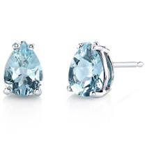 14 kt White Gold Pear Shape 1.00 ct Aquamarine Earrings E18546
