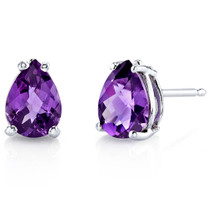 14 kt White Gold Pear Shape 1.00 ct Amethyst Earrings E18548