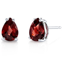 14 kt White Gold Pear Shape 1.75 ct Garnet Earrings E18550