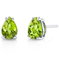 14 kt White Gold Pear Shape 1.50 ct Peridot Earrings E18556