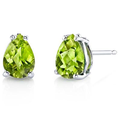 14 kt White Gold Pear Shape 1.50 ct Peridot Earrings E18556