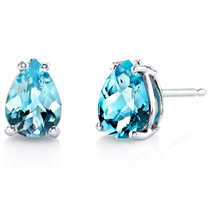 14 kt White Gold Pear Shape 1.50 ct Swiss Blue Topaz Earrings E18558