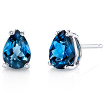 14 kt White Gold Pear Shape 1.50 ct London Blue Topaz Earrings E18560