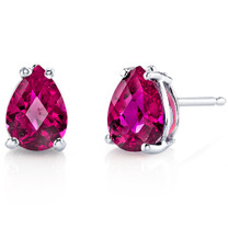 14 kt White Gold Pear Shape 2.00 ct Ruby Earrings E18562