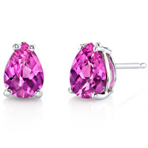 14 kt White Gold Pear Shape 1.75 ct Pink Sapphire Earrings E18566