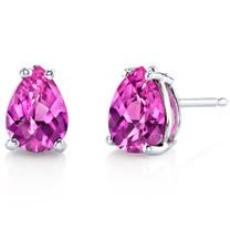 14 kt White Gold Pear Shape 1.75 ct Pink Sapphire Earrings E18566