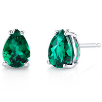 14 kt White Gold Pear Shape 1.25 ct Emerald Earrings E18570