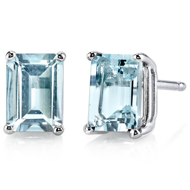 14 kt White Gold Emerald Cut 1.75 ct Aquamarine Earrings E18572
