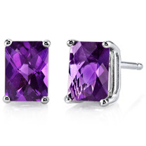 14 kt White Gold Radiant Cut 1.75 ct Amethyst Earrings E18574