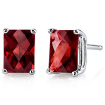 14 kt White Gold Radiant Cut 2.50 ct Garnet Earrings E18576
