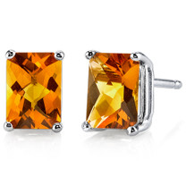 14 kt White Gold Radiant Cut 1.75 ct Citrine Earrings E18578