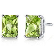 14 kt White Gold Radiant Cut 2.00 ct Peridot Earrings E18582