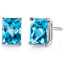 14 kt White Gold Radiant Cut 2.25 ct Swiss Blue Topaz Earrings E18584
