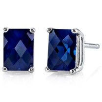14 kt White Gold Radiant Cut 2.50 ct Blue Sapphire Earrings E18590