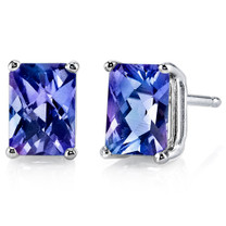 14 kt White Gold Radiant Cut 2.50 ct Alexandrite Earrings E18594