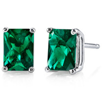 14 kt White Gold Radiant Cut 1.75 ct Emerald Earrings E18596
