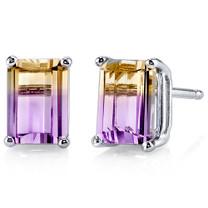 14 kt White Gold Emerald Cut 2.00 ct Ametrine Earrings E18598