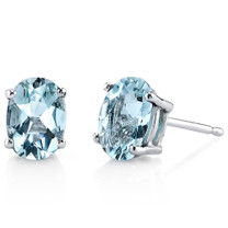 14 kt White Gold Oval Shape 1.25 ct Aquamarine Earrings E18600