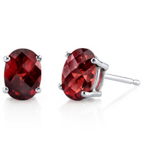 14 kt White Gold Oval Shape 2.00 ct Garnet Earrings E18604