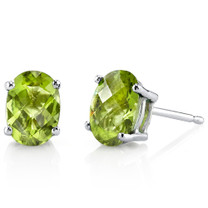 14 kt White Gold Oval Shape 2.00 ct Peridot Earrings E18610