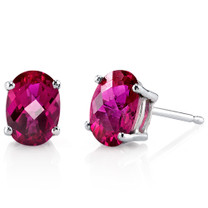 14 kt White Gold Oval Shape 2.00 ct Ruby Earrings E18616