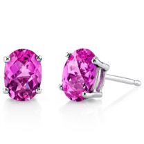 14 kt White Gold Oval Shape 2.00 ct Pink Sapphire Earrings E18620