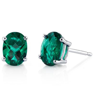 14 kt White Gold Oval Shape 1.50 ct Emerald Earrings E18624