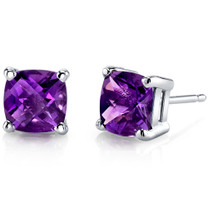 14 kt White Gold Cushion Cut 1.50 ct Amethyst Earrings E18628