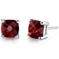 14 kt White Gold Cushion Cut 2.50 ct Garnet Earrings E18630