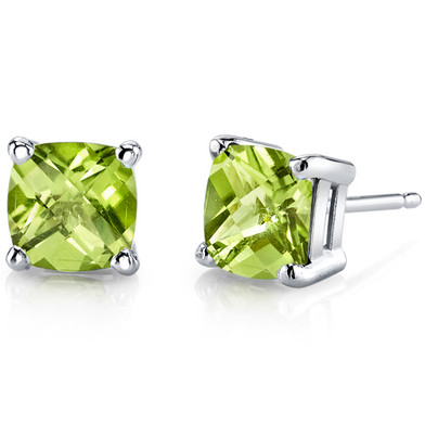 14 kt White Gold Cushion Cut 2.25 ct Peridot Earrings E18636