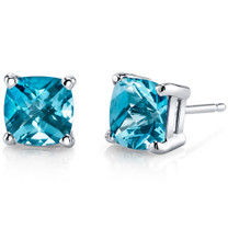 14 kt White Gold Cushion Cut 2.25 ct Swiss Blue Topaz Earrings E18638