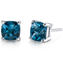 14 kt White Gold Cushion Cut 2.25 ct London Blue Topaz Earrings E18640