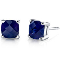 14 kt White Gold Cushion Cut 2.50 ct Blue Sapphire Earrings E18644