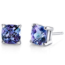 14 kt White Gold Cushion Cut 2.50 ct Alexandrite Earrings E18648