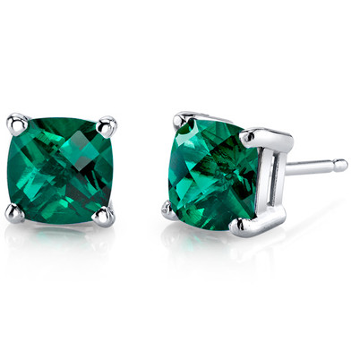 14 kt White Gold Cushion Cut 1.75 ct Emerald Earrings E18650