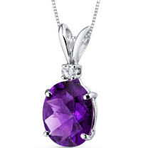 14 kt White Gold Oval Shape 2.00 ct Amethyst Pendant P8922