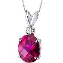 14 kt White Gold Oval Shape 3.50 ct Ruby Pendant P8932