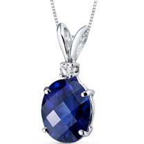 14 kt White Gold Oval Shape 3.50 ct Blue Sapphire Pendant P8934