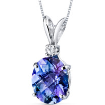 14 kt White Gold Oval Shape 3.50 ct Alexandrite Pendant P8938