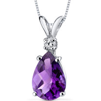 14 kt White Gold Pear Shape 1.50 ct Amethyst Pendant P8942
