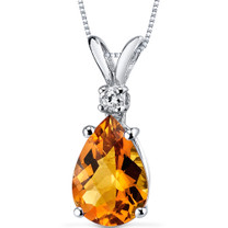 14 kt White Gold Pear Shape 1.50 ct Citrine Pendant P8944