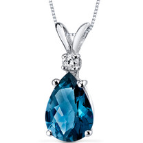 14 kt White Gold Pear Shape 2.00 ct London Blue Topaz Pendant P8950